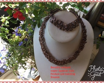 Egyptian style antiqued copper collar necklace and bracelet