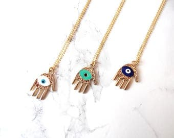 Hamsa hand long necklace, Evil Eye layering necklace, simple minimalist necklace, hamsa hand jewelry, talisman necklace, evil eye jewelry