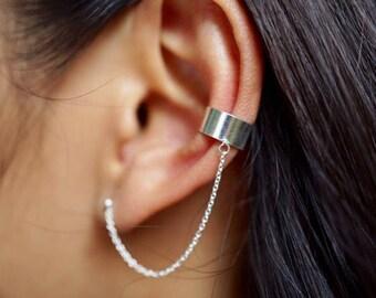 Ear Cuff With Chain, Silver Ear Cuffs And Studs, Bohemian Style, Funky Ear Cuffs, Chain EarCuffs, Gift Idea, Silver Chain Earrings,  (E65)