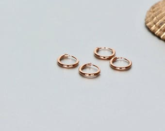 Rose Gold Hoops, 8mm Gold Ear Hoops, Ear Hoops, Delicate Rings For Ear, Piercing Hoops, Tiny Hoops, Gift Ideas, Cartilage Hoops,(EP36X2)