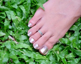 Sterling Silver Hearts Toe Ring, Adjustable Toe Ring, Toe Ring, Simple Toe Rings, Gift For Her, Bohochic Style Toe Ring, MinimalTS73)
