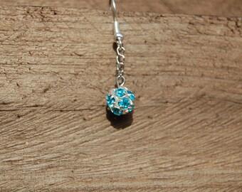 pair of Turquoise rhinestone earrings