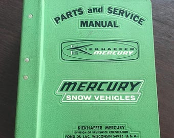Mercury Kiekhaefer Snow Mobile Parts & Service Manual 1970's  Huge Binder
