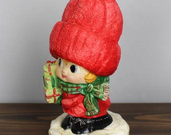 Vintage Plaster Winter Kid Bearing Gifts Figurne