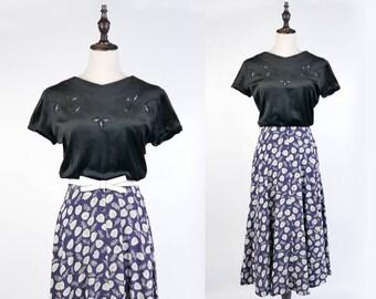 Vintage Dress, Upcycled Vintage Dress, Vintage Japanese Dress, Leaf Print Embroider Short Sleeves Black Vintage Women Dress Size S-M