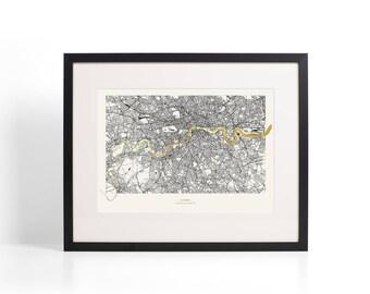 Framed London Metallic Thames Map - Gold Foil