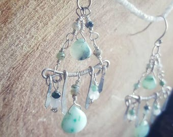 Peruvian Blue Opal, Sterling silver, Chandelier Cloud Warrior Earrings