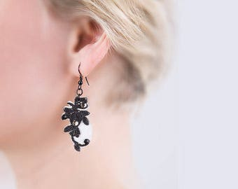 Swarovski crystal earrings white vintage accessories black and white earrings retro style jewelry leather earrings flower lace appliqué