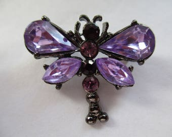 Silver Tone BUTTERFLY BROOCH with Purple and Pink Sparkly Rhinestones, Costume jewellery, Costume jewelry