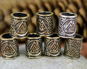 BIG Viking Beard Ring Valknut. Beads for Beards or Hair. Runes. Thors Beard Bead. Celtic ornament bead. Scandinavian. Bead Dreads Or Hair