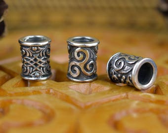 SMALL Viking Beard Ring. Handmade Beard Hair Cuffs. Beard bead. Celtic Triskele bead. Celtic ornament bead for dreads. Scandinavian