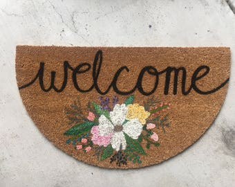 Country Floral Doormat | Welcome Doormat | Personlized Doormat