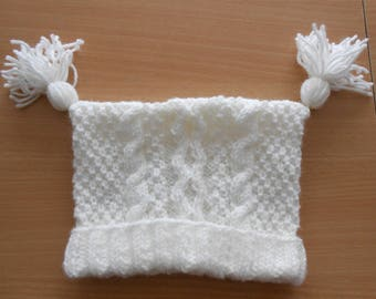 cream baby bonnet