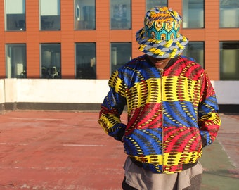 African Clothing - African Bomber Jacket -African Mens Fashion - Wax Print Jacket - Festival clothing - Festival Jacket -  Winter Coat