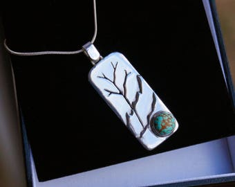 Handmade Tree of Life Turquoise Sterling Silver Pendant