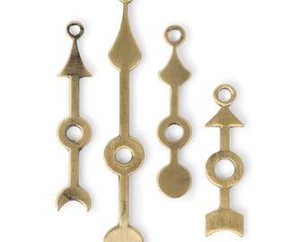 Gold Clock Hands Charm Set (STEAM331)