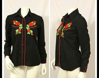 20% Off Summer Sale Vintage Black Western Shirt,  Karman, Embroidered Western Shirt, Black Western Shirt, Ladies Western Shirt, Rockabilly S