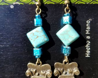 Couch Tour, Dangle Earrings, Turquoise, Howlite, Cube ,Antique Bronze, Sofa