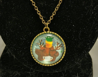 Cute antlered girl cameo necklace
