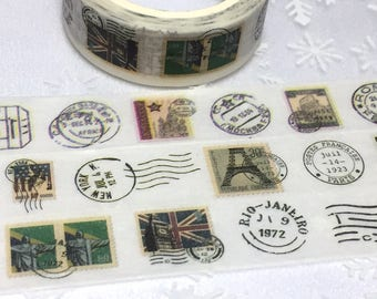 vintage passport stamp chop immigration chop washi tape 7M x 1.5cm  postage stamp air mail label world postage stamp travel planner sticker