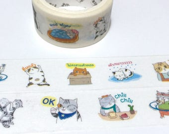 cat themed masking sticker tape 5M x 2cm comic cat washi tape grey cat street cat naughty cat fat cat big cat notebook planner diary decor