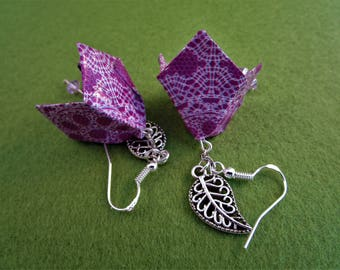 Purple flower earrings, purple earrings, flower earrings, purple flowers, purple jewelry, purple flower jewelry, origami earrings