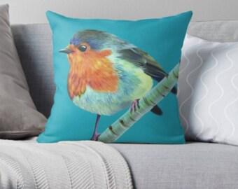 Robin scatter sofa cushion | turquoise bird lover scatter sofa cushion | bird lover throw pillow | bird lover cushion