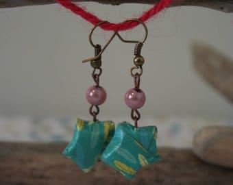 Earrings origami star