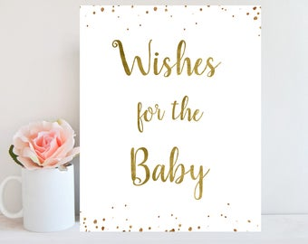 Baby Shower Sign, Wishes for the Baby Gold Printable, Gender Neutral Sign, Wishes for Baby Card, Gold Confetti, Instant Download BBSG1