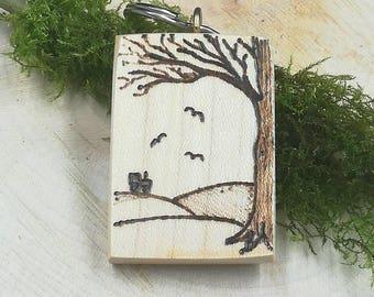 Tractor keyring on wood - original artwork