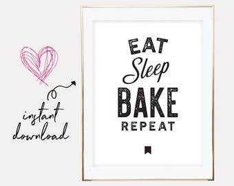 gift for baker, baker gift, baker printable, baker print, baker poster, baker gifts, baker present idea, downloadable prints, printable art