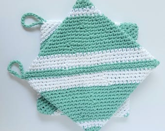 Fern Green and White  Crochet Cotton  Potholder Set