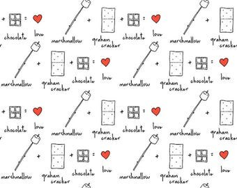 Yardage, Ink & Arrow Camp S'More,  INGREDIENTS White, Camping Quilt, Modern Quilt, Modern Fabric, Fun Fabric, Black and White