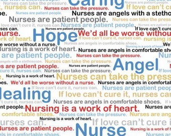 Calling All Nurses Multi Words in White by Whistler Studios for Windham nursing words quilting cotton woven fabric by the yard metre 37301-X