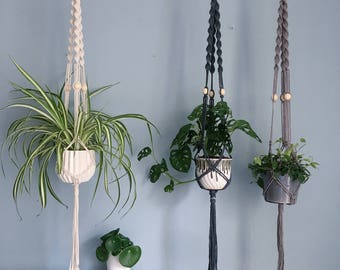 Beaded Macrame Plant Hanger / Handmade Hanging Planter / Wooden Beads / Natural Cotton, Grey & Off-Black