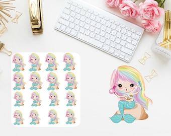 Hair mermaid  planner stickers