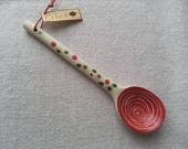 Pottery spoon with red spiral-Ceramics and pottery-Clay spoon-Ceramic Spoon-Hot chocolate spoon-Tea or Coffee mug spoon-Stoneware spoon
