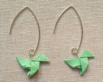 Pendientes origami, pendientes pajarita, pendientes pajarita de papel, pendientes de plata, pendientes mint, regalo para mujer, pendientes