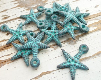 Green Patina Medium Starfish charm, Pack of 6, Mykonos Beads, Greek Metal