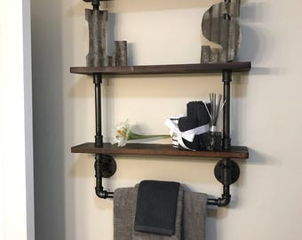 3 tier bathroom shelf with towel rack made from Reclaimed Wood and Industrial Pipe Industrial Chic Steampunk  Hampton Industrial Design