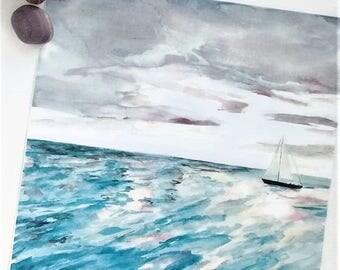 Printable Sailboat Watercolor Art, DIGITAL PRODUCT, Printable, Boat on the Water at Sunset, Art Print, Downloadable, 8 x 8 Inch, Ocean Art