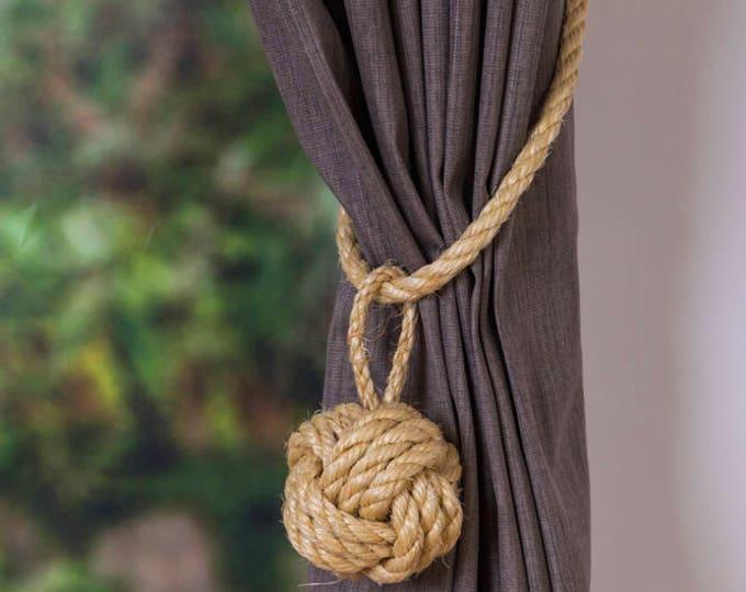 Large Monkey Fist Knot Natural Sisal Rope Curtain Tieback Rope Ties shabby chic ties Holdbacks Christams boho rustic ties nautical decor