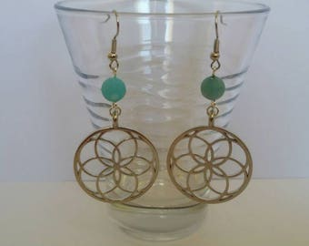 Rosette blue frosted agate earrings