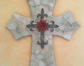 Real Spanish sea glass cross