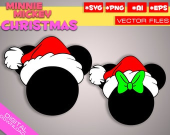 Mickey and Minnie christmas Ear Hat SVG cricut, Disney Christmas Hat SVG, Disney Cut Files in svg eps png Printable Clipart a santa hat