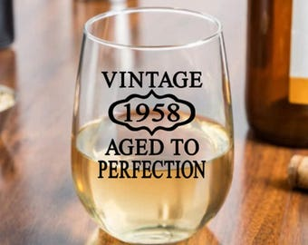 60th Birthday Gift, Vintage 1958, Aged to Perfection, Birthday Rocks Glass, Moms 60th, Dads 60th, Woman's 60th, 60th Party Favors