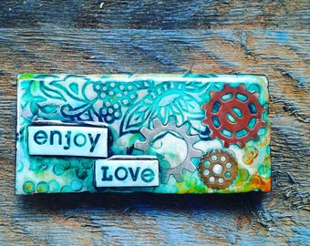 Positive Wall Art/ Inspirational Wall Decor/ Polymer Clay Tile/ Positive Affirmation/ Meditation/ 2x4in Hanging/ Handmade Clay Tile/ Love