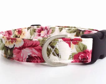 Pink Floral Dog Collar | Rose Dog Collar | Girl Dog Collar | Dog Collar | Floral Dog Collar | Small Dog Collar | Big Dog Collar|Puppy Collar