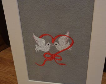 Wedding Doves Embroidered Picture