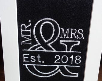 Mr & Mrs Wedding Gift/Embroidered Wall Hanging